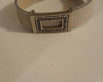 9 inch leather bracelet with silver slide