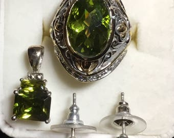 Ring, size 6, Green Earrings and pendent set in Sterling silver
