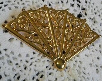 Anne Klein (rare?) gold tone filigree fan and hearts brooch