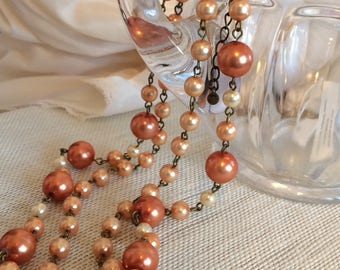 Premier Designs Double Strand Smokey Rose Pearl Necklace