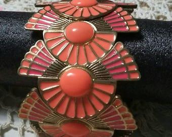 Vintage wide Enameled metal fushia and coral expansion bracelet