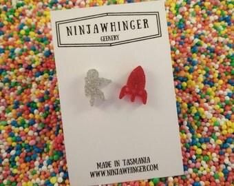 SPACEMAN AND ROCKET acrylic shape stud earrings