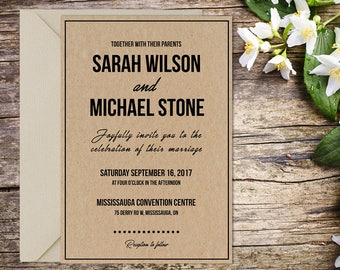 Printed Classic Wedding, Rustic Wedding, Printable Wedding, Printed Invitation, Wedding invitation, Kraft Style Invitation