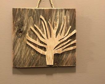 Rustic wood tree wall hanging