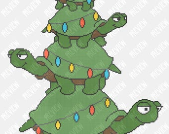 Turtle Christmas Tree | Counted Cross Stitch PDF Pattern | Instant Download | Tortoise | Lights | Cartoon
