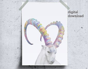 Mountain Goat Poster, Wild Goat Wall Art, Capricorn Art, Printable Goat Art, Mountain Animals Wilderness Poster, Capricorn Zodiac Gift