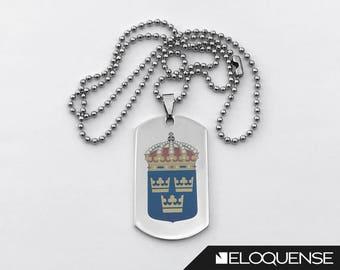 Three Crowns Pendant, Tre Kronor, Swedish Emblem Pendant, National Emblem of Sweden, Coat of Arms of Sweden - Laser Marked