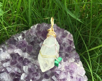 Quartz and Malachite Pendant