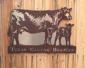 Custom Ranch and Farm Sign.   Business Sign;  Farming;  Family Sign; Metal Sign;  Brangus; calf; cow; texas