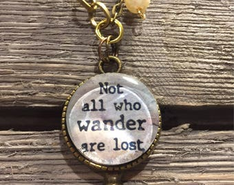 Not All Who Wander Are Lost mixed metal necklace