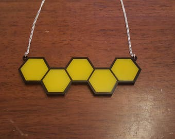 Honeycomb statement laser cut necklace