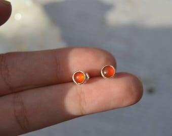 5mm Carnelian stud earrings/ sterling silver- simple studs