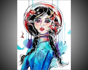 Opal watercolor painting, Koi painting, Koi art, Koi wall art, Koi picture, Geisha art, Geisha painting, Geisha gift, Geisha wall art,