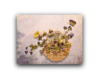 "6 greeting cards with handmade pressed flower designs: ""Basket of weeds"""