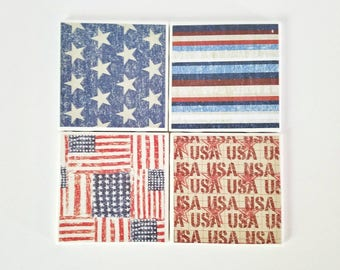 American flag coasters, set of 4, ceramic coasters, housewarming gift, tile coasters, Americana decor, USA coasters
