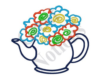 Floral Teapot   Machine Embroidery Design