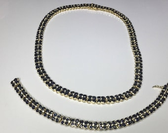 Estate 18K Yellow Gold 17CTW Diamond & Sapphire Necklace And Bracelet Set 98 Gr.
