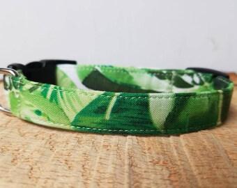 "Green Palm Leaves Dog Collar - Palm Tree Dog Collar - Green Dog Collar ""The Bismarck"""