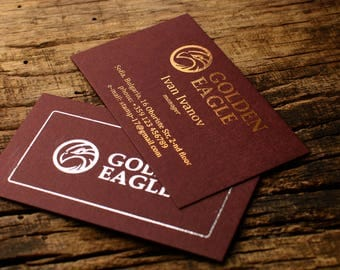 "Luxury business cards, metallic foil print on ""Burgundy"" card stock paper"