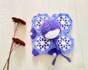 Pretty purple lacey newborn bonnet and matching granny square crochet mini layer blanket, 1 available, rts, UK seller, photography prop