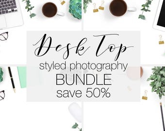 Styled Photography Bundle, Desk Top Stock Photo Bundle, Styled Desk Images, Mint Green Stationery and Laptop, Commercial Use Flat Lay Photos