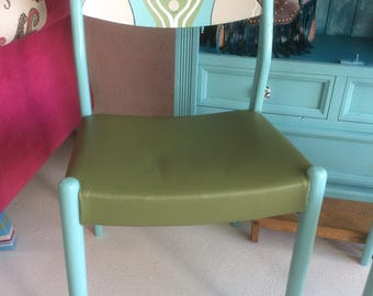 Handpainted two of a kind retro vintage design chair with art deco style decoration