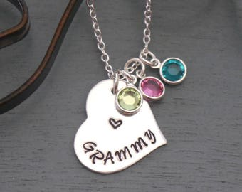 Grammy Necklace, Personalized Grammy Necklace, Grandma Heart Necklace, Birthstone Necklace, 1, 2, 3 Birthstones, Nana Necklace, Mimi, Nonie
