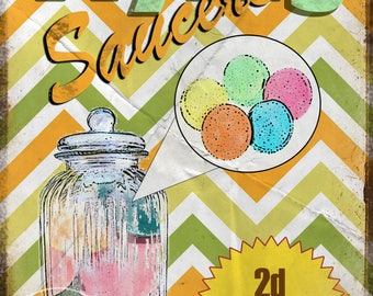 Nostalgic sweets  Flying Saucers Metal Sign / Plaque Home Decor Kitchen  Stunning Gift