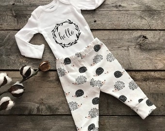 Hedgehog baby leggings; hello onsie; take home outfit; shower gift
