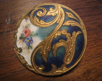 Beautiful Antique button 26 mm matt enamel french collection