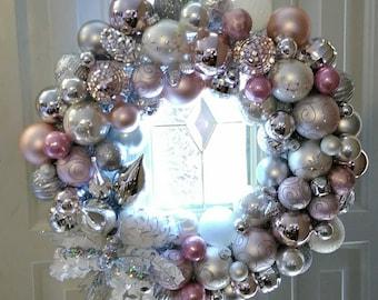 Pretty in Pink--Handmade Ornament Wreath A Dazzling Delight!