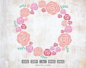Springtime Rose Wreath - Cut File/Vector, Silhouette, Cricut, SVG, PNG, Clip Art, Download, Easter, Holiday Spring Flowers Roses Peonies