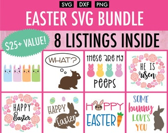 Mini Easter SVG Bundle - 8 Designs - Cut File/Vector, Silhouette, Cricut, SVG, PNG, Clip Art Download, Happy Easter Rabbit Spring Bunny Eggs