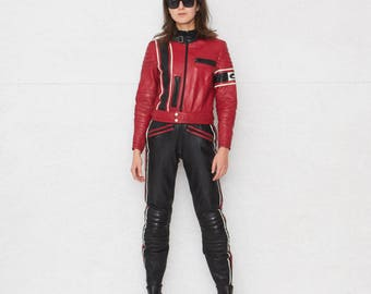 Black And Red Leather Motocycle Suit/ Goat Leather/ Size 40