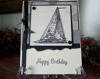 Masculine Sailboat  Birthday Greeting Card