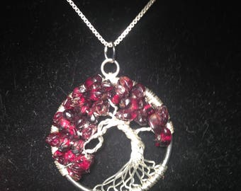 Garnet Necklace,Garnet Pendant, Garnet Tree of Life Necklace.Artistic Wire Silver Plated.Tarnish Resistant Silver.Silverplated Chain