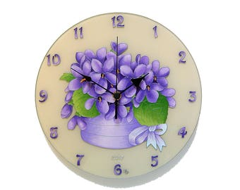 Violets Purple Wall Clock  Silent Wall Clock Unique Clock  Floral Wall Clock  Gift Women Purple Home Decor Gift for Mom Gift Girlfriend