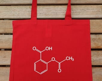 Acetylsalicylic Acid, Molecule Tote Bag, Science Tote Bag, Hipster Tote, Cotton Tote Bag, Shoulder Bag, Gift For Her, Shopping Tote, 208