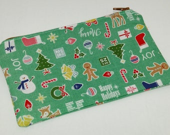 Happy Holidays Christmas Themed Novelty Zipper Pouch makeup bag; pencil case; gift for her; cosmetic bag; carry all; gadget case; birthday