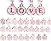 Initial Letter Enamel Alphabet Charm Pendants, Pink and Silver, Single Letter, One Charm, Typewriter Charm, Single Pendant, Round, A-Z
