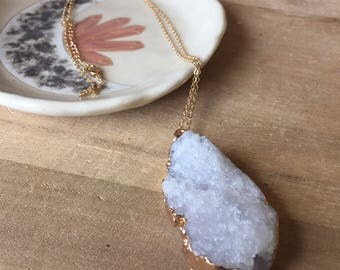 White Druzy Geode Crystal Cluster Pendant with 14k Gold Leaf and a Gold Chain