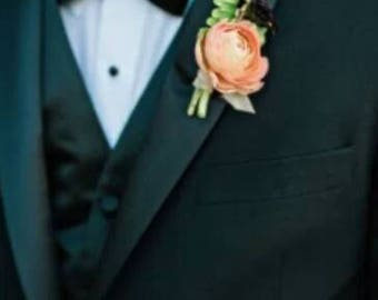 Coral rose boutonniere groom and groomsmen