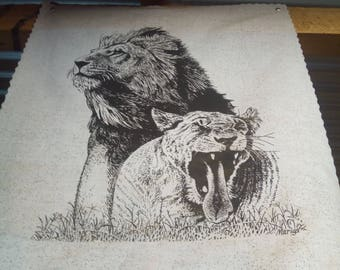 This is A Cotton Print Of Lions Mating
