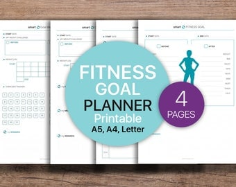 FITNESS Goal Planner, Goal Weight Tracker, Health Planner, Activity Planner  | PDF Printable, Instant Download - A4, A5, Letter.