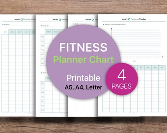 FITNESS Planner, Measurements Tracker, Progress Tracker, Progress Chart  | PDF Printable, Instant Download - A4, A5, Letter.