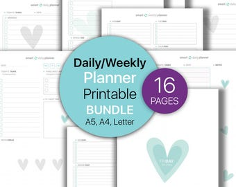 Daily Planner BUNDLE, Weekly Planner, To Do List Printable, Notepad, Planners, Weekly | Dot grid notebook | Printable, A4, A5, Letter.