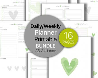 Daily Planner BUNDLE, Weekly Planner, To Do List Printable, Notepad, Planners, Weekly   Dot grid notebook   Printable, A4, A5, Letter.