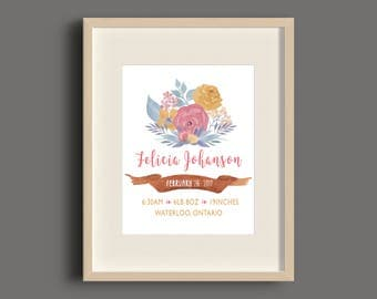 Floral Watercolor Birth Announcement Art Print, Wall Art, Wall Decor, For Nursery, For Baby - 8x10 - UNFRAMED