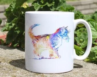 Cat mug - Animal watercolor mug - Colorful printed mug - Tee mug - Coffee Mug - Gift Idea