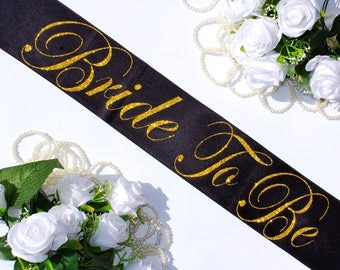 Bride To Be Satin Sash, Bachelorette Sash, Bridal Shower, Bridal Sash, Gold Glitter Sash, Bachelorette Party, Maid of Honor, Bride, Model SL